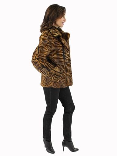 Tiger Print Calf Fur Jacket