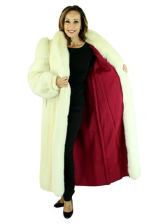 Woman's Tourmaline Mink Fur Coat with Fox Sleeves and Tuxedo Front