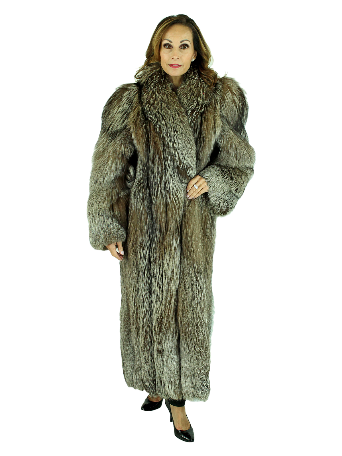 Woman's Silver Fox Fur Coat