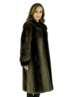 Woman's Phantom Sheared Beaver Fur Coat with Mahogany Mink Trim