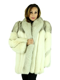 Woman's Shadow Fox Fur Jacket with Blue Fox Accents