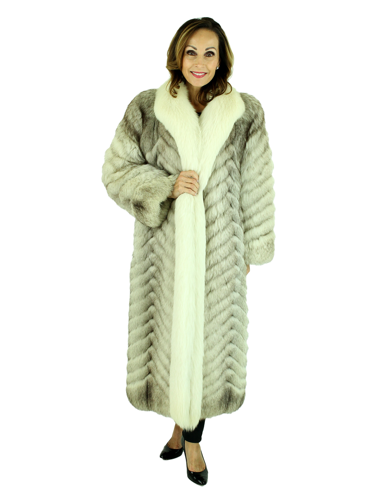 Woman's Chevron Pattern Blue Fox Fur Coat with Shadow Fox Trim