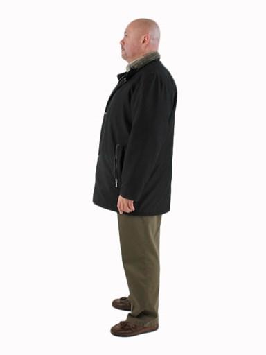 Black Cloth & Shearling 3/4 Coat