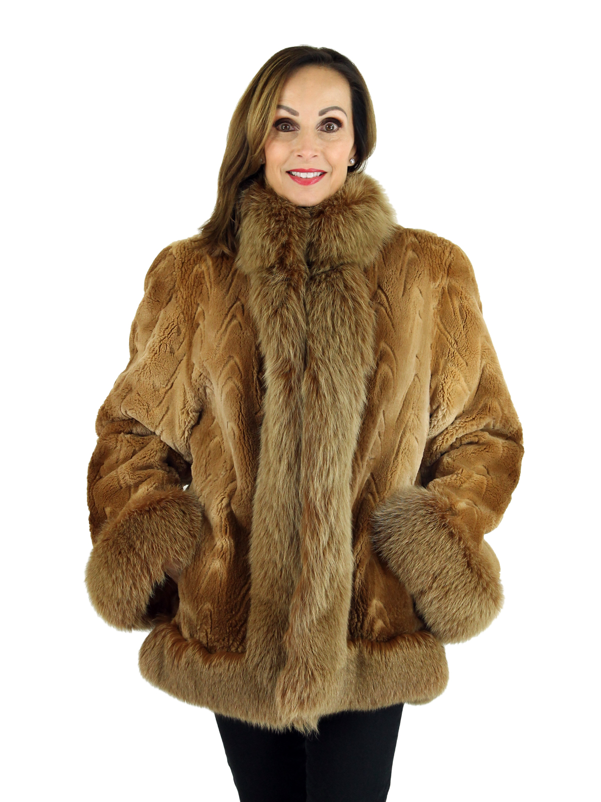 Woman's Caramel Sheared Beaver Fur Jacket with Fox Trim and Laser Grooving