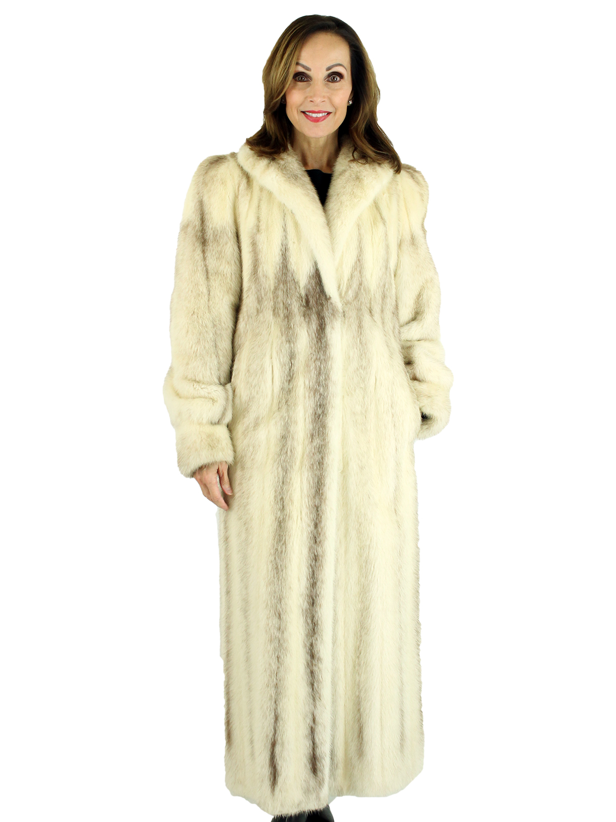 Woman's Brown Female Cross Mink Fur Coat