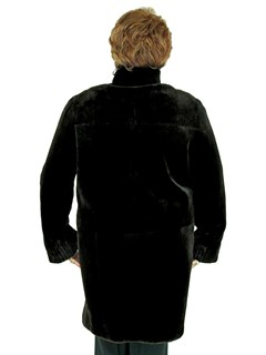 Woman's Dark Brown Sheared Beaver Fur 3/4 Coat
