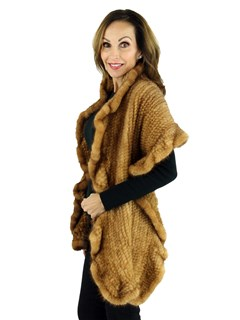Woman's Whiskey Knitted Mink Fur Stole