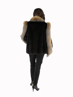 Ranch Mink Fur Cord Cut Jacket w/ Crystal Fox Trim