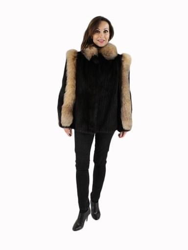 Ranch Mink Fur Cord Cut Jacket w/ Crystal Fox Trim