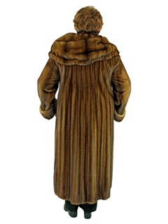 Woman's Whiskey Female Mink Fur Coat with Hood