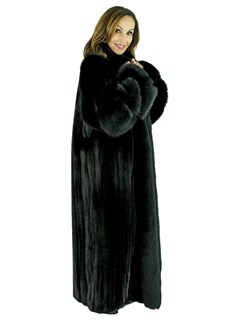Woman's Ranch Mink Fur Coat with Fox Tuxedo Front and Sleeves