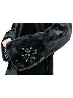 Woman's Black Sheared Mink Fur Jacket with Jeweled Accents