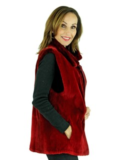 Woman's Red Sheared Beaver Fur Vest Reversible to Leather