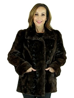 Woman's Semi-Sheared Sculptured Brown Mink Fur Jacket