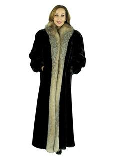 Woman's Matara Sheared Beaver Fur Coat with Crystal Fox Tuxedo Front