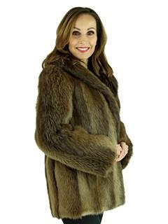 Woman's Medium Tone Long Hair Beaver Fur Jacket