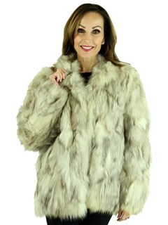 Woman's Sectioned Cross Fox Fur Jacket