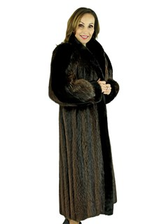 Woman's Natural Long Hair Beaver Fur Coat
