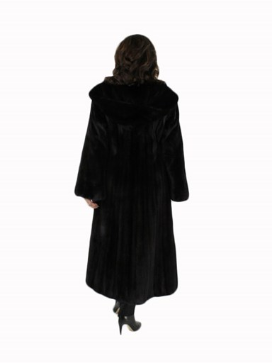 Female Ranch Mink Fur Coat w/ Hood