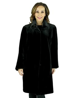 Woman's Black Sheared Mink Fur Stroller Reversing to Rain Fabric