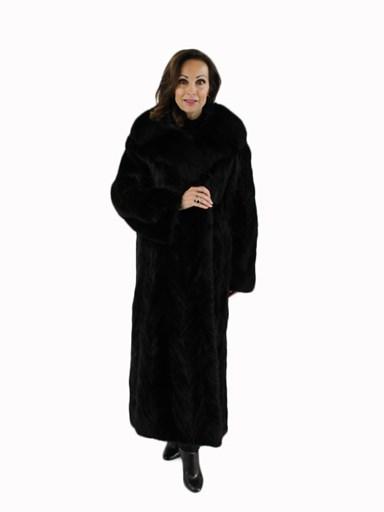 Ranch Mink Fur Section Coat w/ Fox Collar