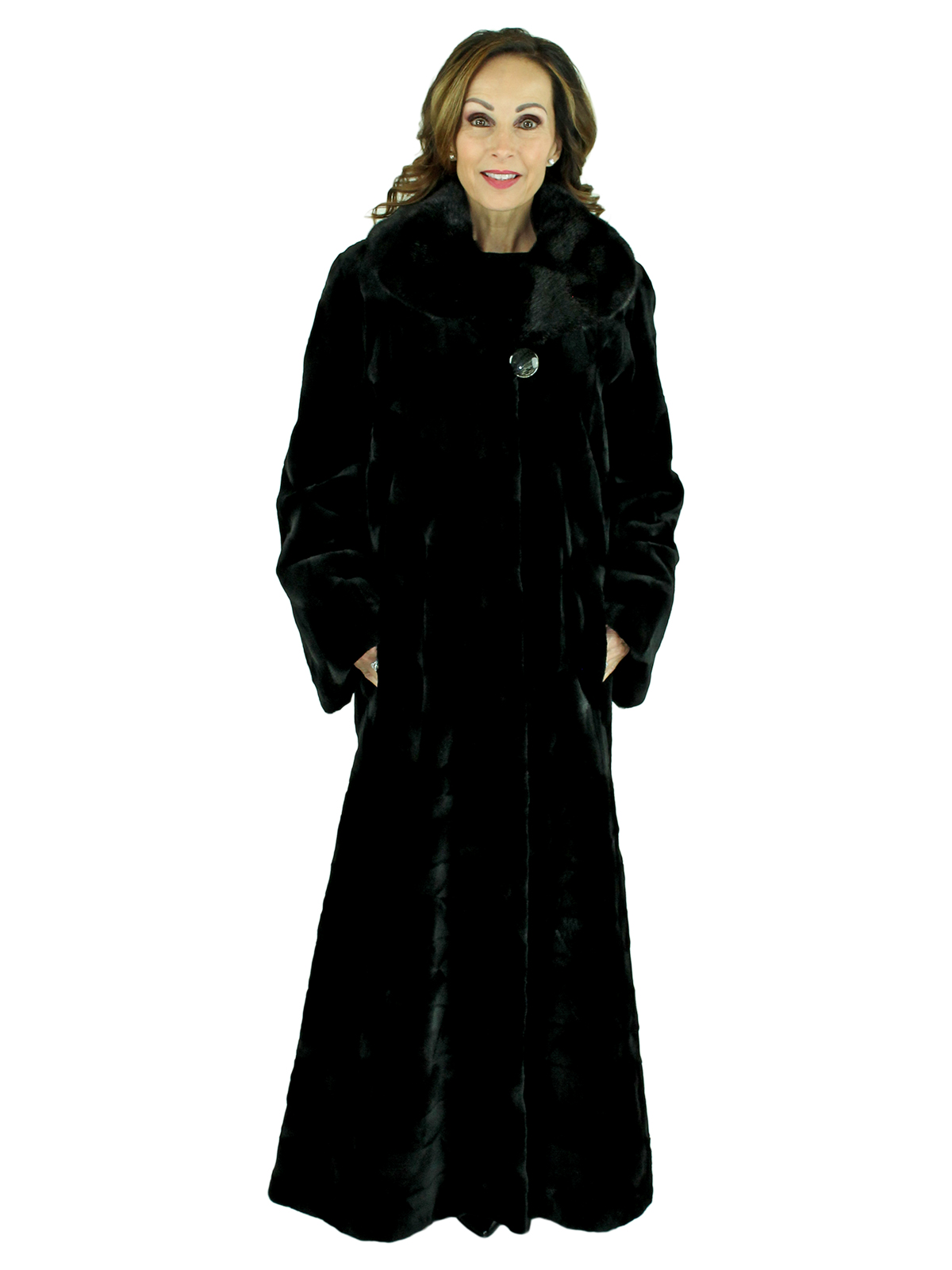 Woman's Black Sheared Mink Fur Coat with Traditional Mink Collar