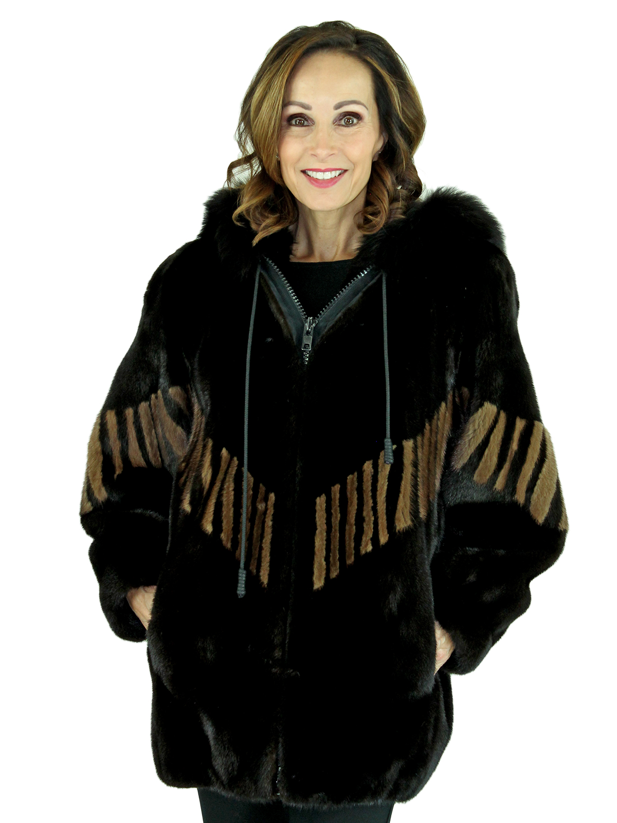 Woman's Ranch Mink Fur Parka with Lunaraine Inserts and Fox Trimmed Hood