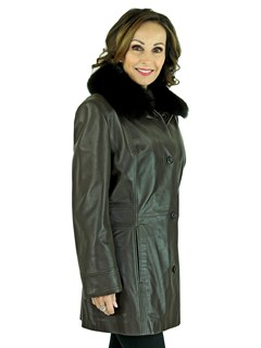 Woman's Brown Leather Jacket with Detachable Black Fox Collar