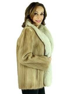 Woman's Pastel Cord Cut Mink Fur Jacket with Blush Fox Tuxedo Front