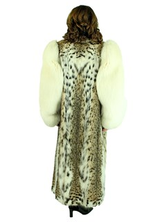 Woman's Natural Cat Lynx Fur Coat with Shadow Fox Tuxedo Front and Sleeves