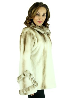 Woman's Golden Cream Semi Sheared Mink Fur Jacket with Traditional Mink Trim