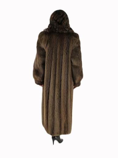 Medium Tone Long Hair Beaver Fur Coat