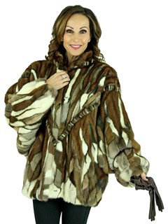 Woman's Multicolored Sculptured Mink Fur Jacket