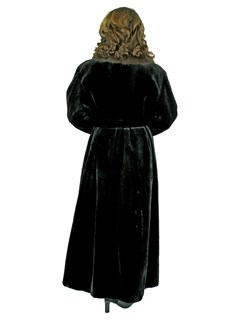 Woman's Black Sheared Mink Fur Coat With Sable Collar