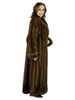 Woman's Demi Buff Female Mink Fur Coat with Directional and Scalloped Hemline