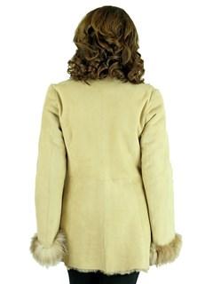 Woman's Italian Cream Shearling Lamb Jacket with Crystal Fox Tuxedo Front