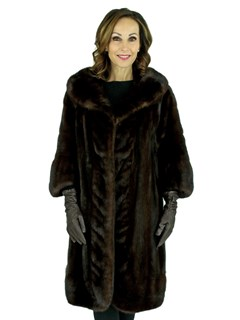 Woman's Vintage Mahogany Mink Fur 3/4 Coat