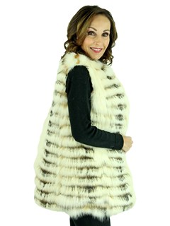 Woman's Natural Fox and Finn Raccoon Fur Feathered Vest