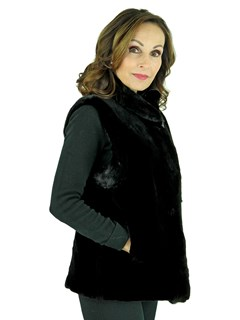 Woman's Black Sheared Beaver Fur Vest with Mink Trim Reversible to Leather