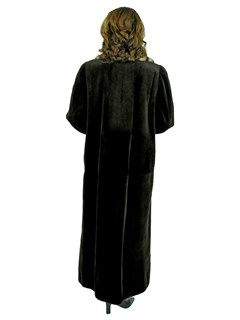 Woman's, Dark Brown Sheared Beaver Reversible Fur Coat with Two Tone Mink Trim