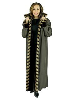 Woman's, Dark Brown Sheared Beaver Reversible Fur Coat with Two Tone Mink Trim