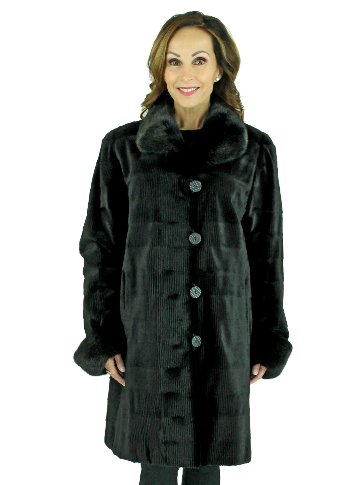 Woman's Black Sheared and Grooved Mink Fur Stroller Reversing to Rain Fabric