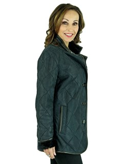 Woman's Chris Navy Quilted Shearling Lamb Jacket
