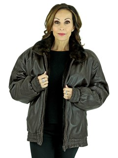 Woman's Mahogany Cord Cut Mink Fur Jacket Reversing to Brown Leather