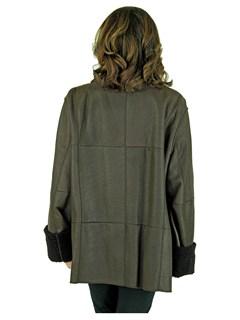 Woman's Plus Size Dark Brown Christ Shearling Lamb Jacket
