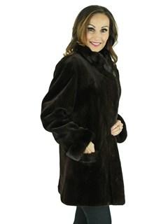 Woman's Brown Sheared Mink Jacket Reversing to Rain Fabric