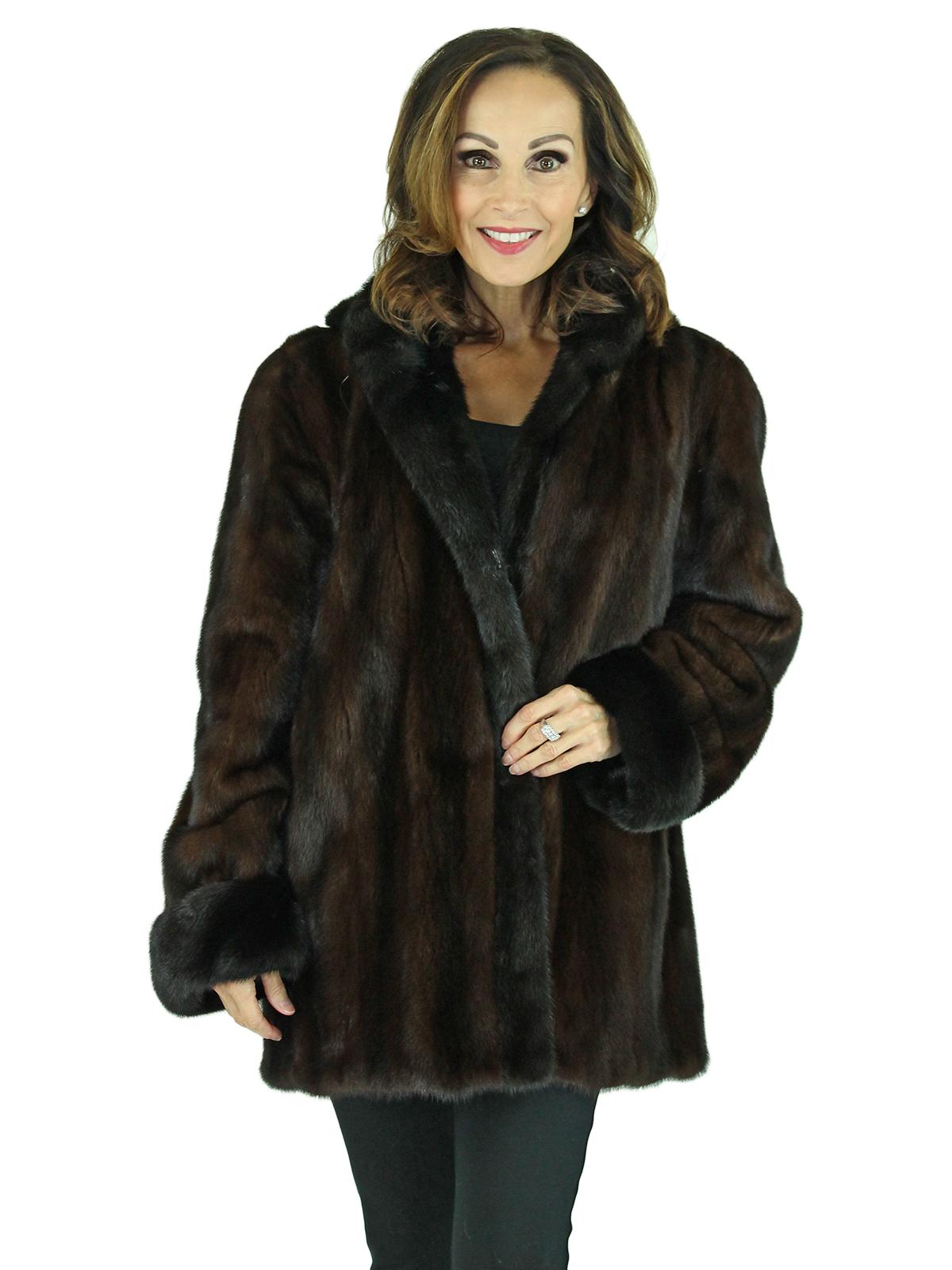 Woman's Mahogany Female Mink Fur Jacket with Detachable Hood
