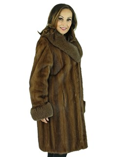 Woman's Lunaraine Female Mink Fur Stroller with Fox Collar and Cuffs
