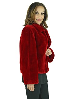 Woman's Red Sheared Beaver Fur Jacket