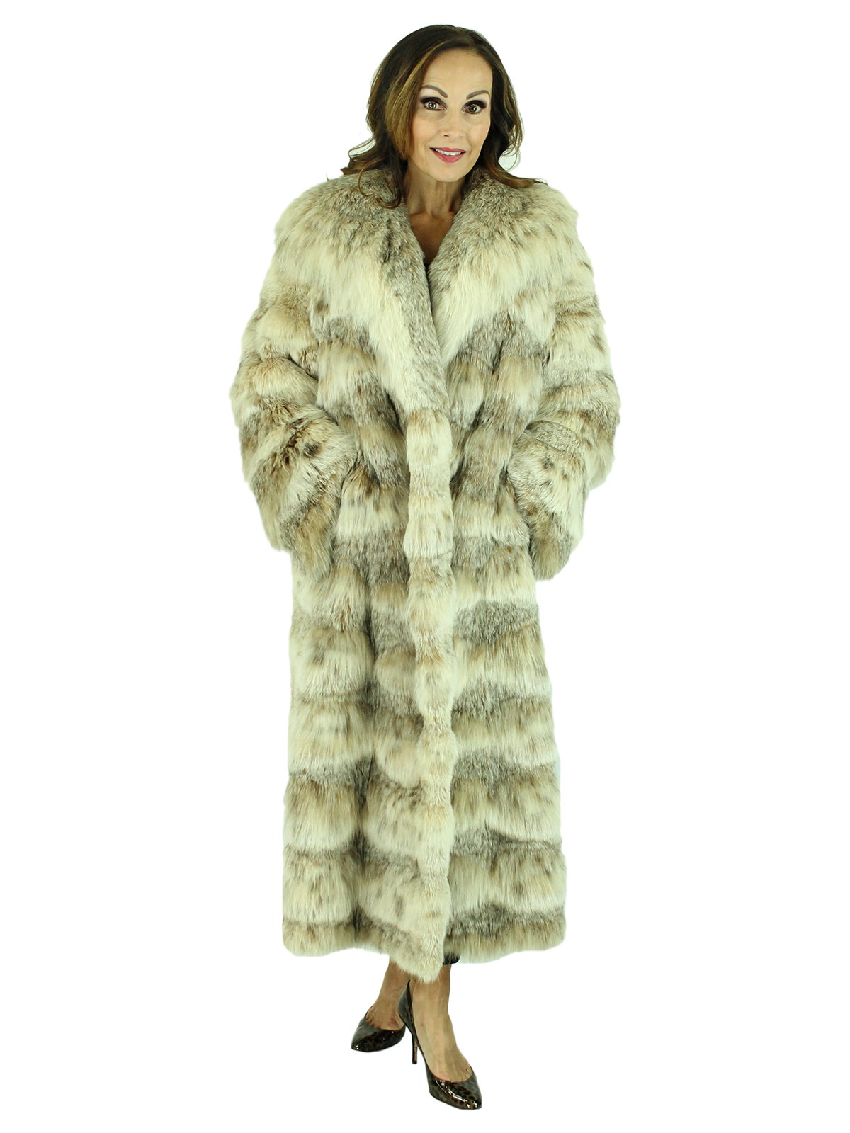 Woman's Natural Canadian Lynx Fur Coat with Horizontal Cut Style